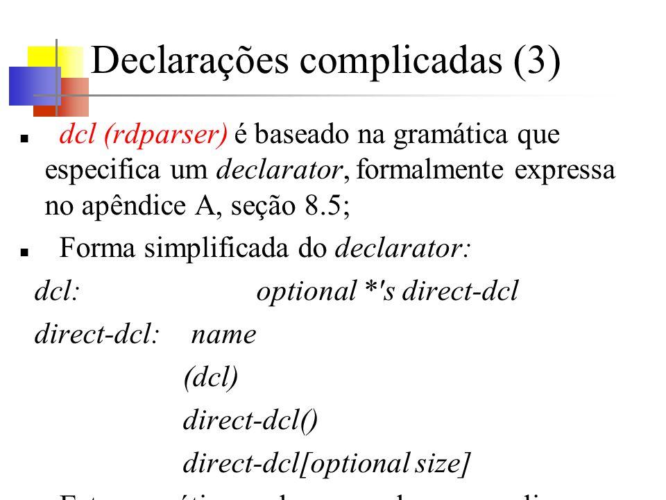 Declarações complicadas (3) dcl (rdparser) é baseado na gramática que especifica um declarator, formalmente expressa no apêndice A, seção 8.5; Forma simplificada do declarator: dcl: optional * s direct-dcl direct-dcl: name (dcl) direct-dcl() direct-dcl[optional size] Esta gramática pode ser usada para analisar declarações.