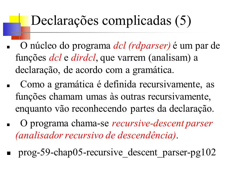 Declarações complicadas (5) O núcleo do programa dcl (rdparser) é um par de funções dcl e dirdcl, que varrem (analisam) a declaração, de acordo com a gramática.