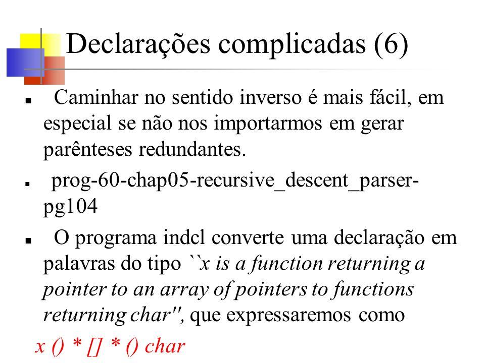 Declarações complicadas (6) Caminhar no sentido inverso é mais fácil, em especial se não nos importarmos em gerar parênteses redundantes.