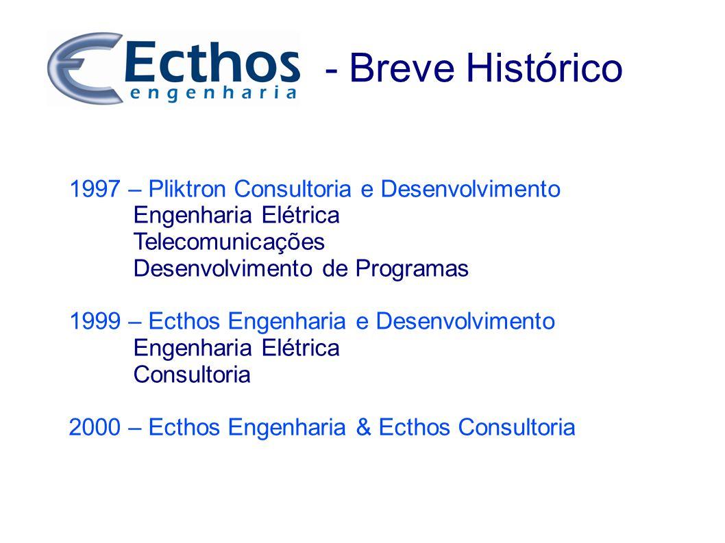 - Breve Histórico 1997 – Pliktron Consultoria e Desenvolvimento Engenharia Elétrica Telecomunicações Desenvolvimento de Programas 1999 – Ecthos Engenh