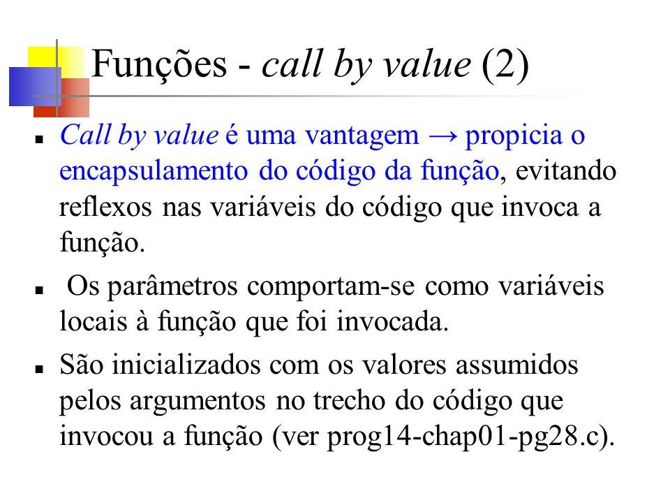Funções - call by value (2) Call by value é uma vantagem propicia o encapsulamento do código da função, evitando reflexos nas variáveis do código que