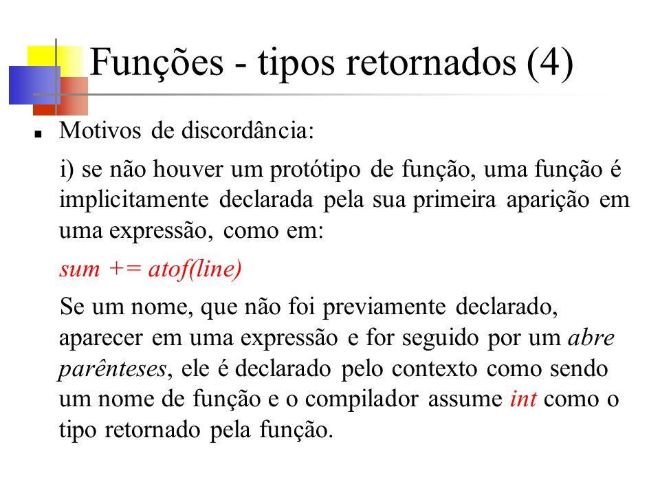 Funções - tipos retornados (4) Motivos de discordância: i) se não houver um protótipo de função, uma função é implicitamente declarada pela sua primei