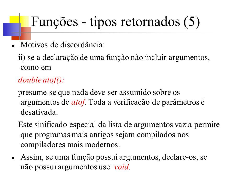 Funções - tipos retornados (5) Motivos de discordância: ii) se a declaração de uma função não incluir argumentos, como em double atof(); presume-se qu