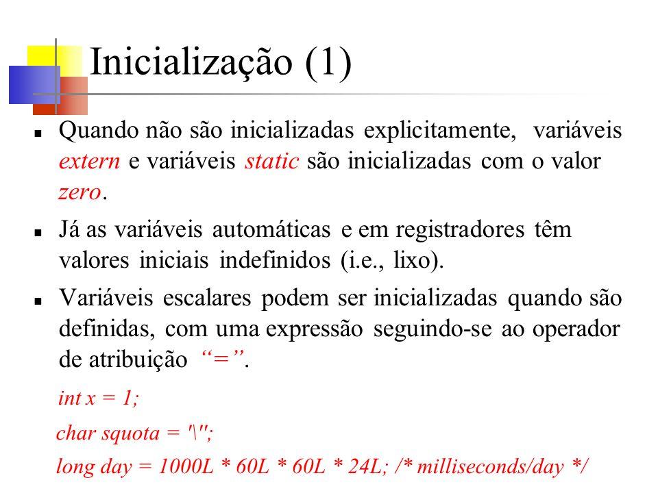 Inicialização (1) Quando não são inicializadas explicitamente, variáveis extern e variáveis static são inicializadas com o valor zero. Já as variáveis