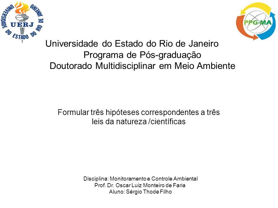 Universidade do Estado do Rio de Janeiro Programa de Pós-graduação Doutorado Multidisciplinar em Meio Ambiente Formular três hipóteses correspondentes a três leis da natureza /científicas Disciplina: Monitoramento e Controle Ambiental Prof.