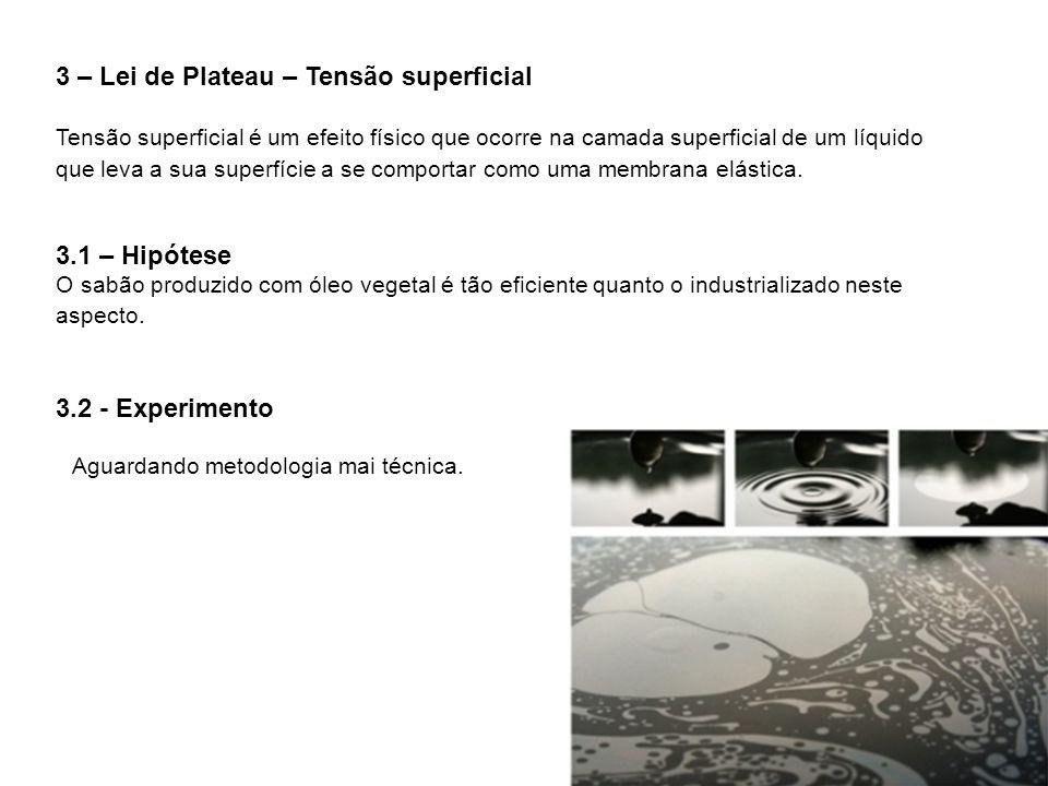 3 – Lei de Plateau – Tensão superficial Tensão superficial é um efeito físico que ocorre na camada superficial de um líquido que leva a sua superfície a se comportar como uma membrana elástica.