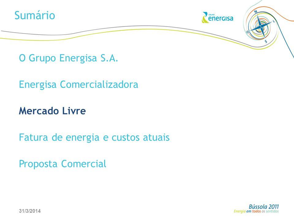 31/3/201412 Sumário O Grupo Energisa S.A. Energisa Comercializadora Mercado Livre Fatura de energia e custos atuais Proposta Comercial