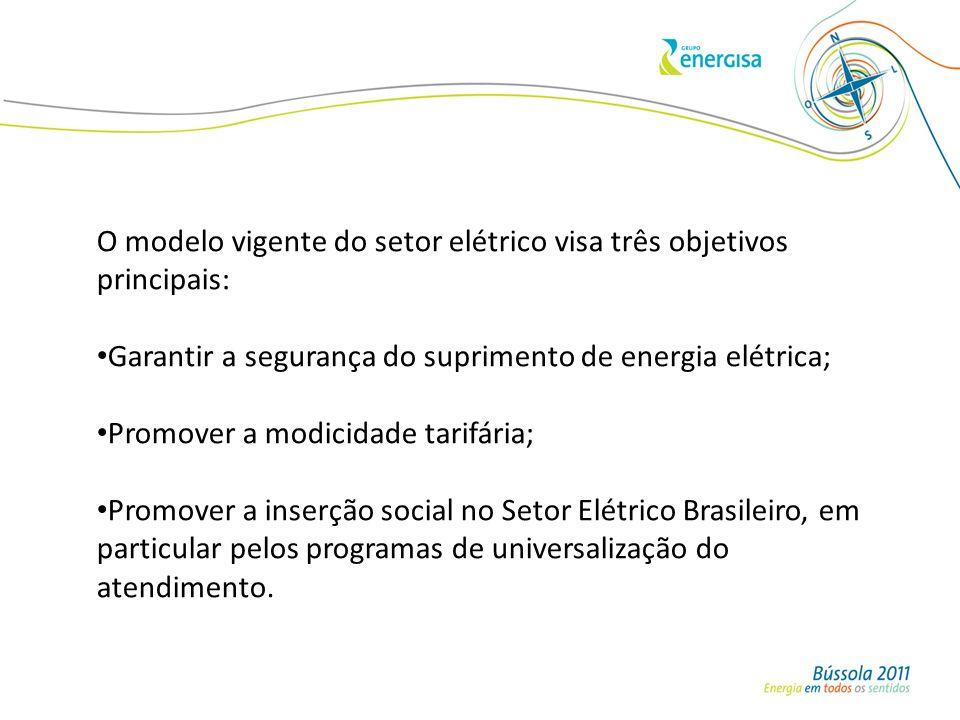 O modelo vigente do setor elétrico visa três objetivos principais: Garantir a segurança do suprimento de energia elétrica; Promover a modicidade tarif