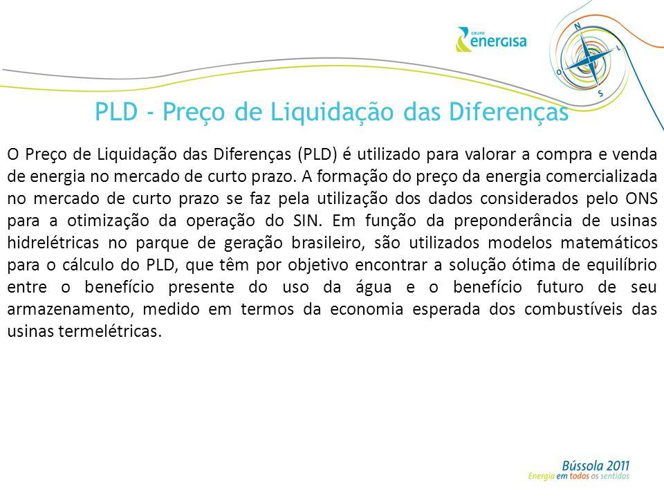 PLD - Preço de Liquidação das Diferenças O Preço de Liquidação das Diferenças (PLD) é utilizado para valorar a compra e venda de energia no mercado de