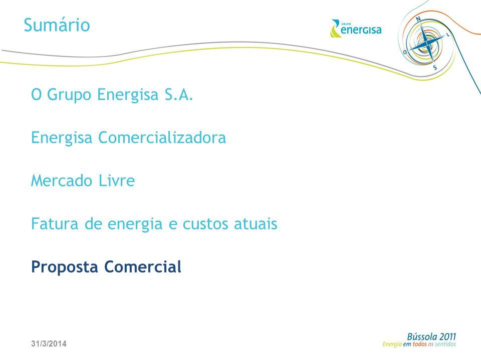 31/3/201427 Sumário O Grupo Energisa S.A. Energisa Comercializadora Mercado Livre Fatura de energia e custos atuais Proposta Comercial