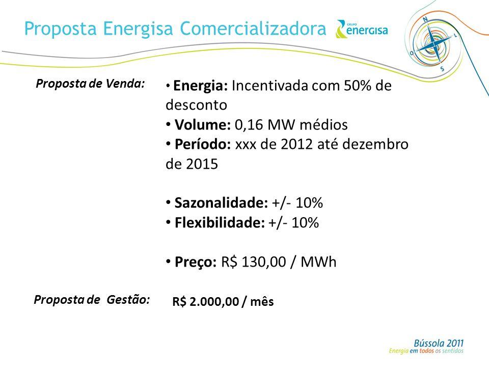 Proposta Energisa Comercializadora Energia: Incentivada com 50% de desconto Volume: 0,16 MW médios Período: xxx de 2012 até dezembro de 2015 Sazonalid