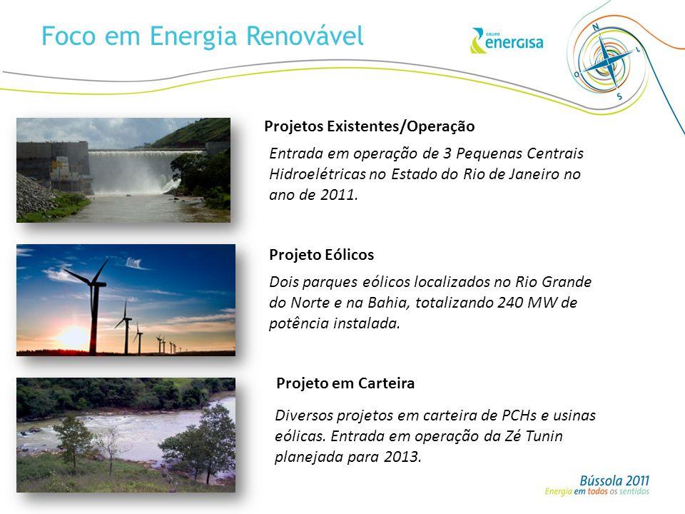 Foco em Energia Renovável Entrada em operação de 3 Pequenas Centrais Hidroelétricas no Estado do Rio de Janeiro no ano de 2011. Projetos Existentes/Op