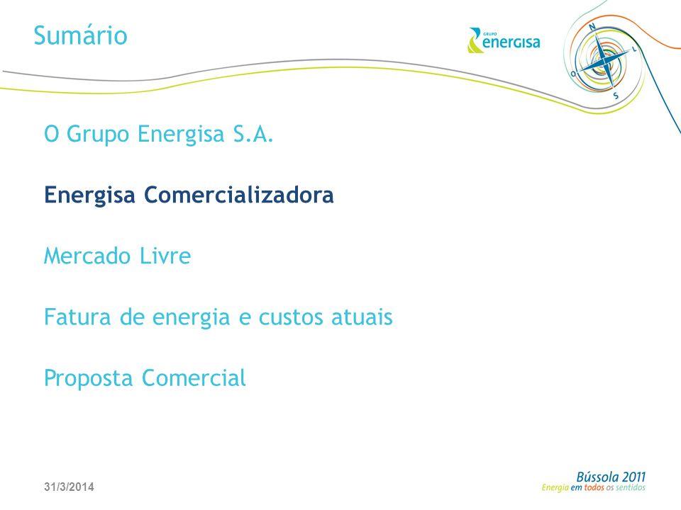 31/3/20146 Sumário O Grupo Energisa S.A. Energisa Comercializadora Mercado Livre Fatura de energia e custos atuais Proposta Comercial
