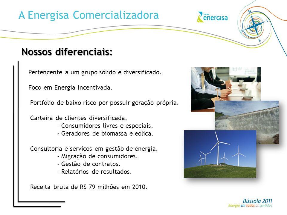 A Energisa Comercializadora Pertencente a um grupo sólido e diversificado. Foco em Energia Incentivada. Portfólio de baixo risco por possuir geração p