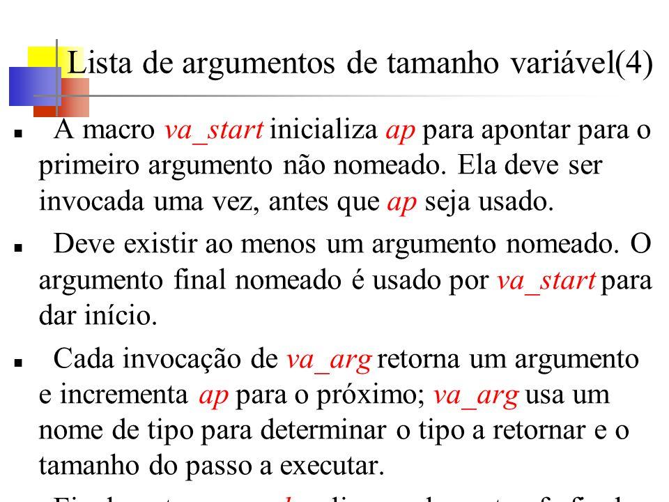 Lista de argumentos de tamanho variável(4) A macro va_start inicializa ap para apontar para o primeiro argumento não nomeado. Ela deve ser invocada um
