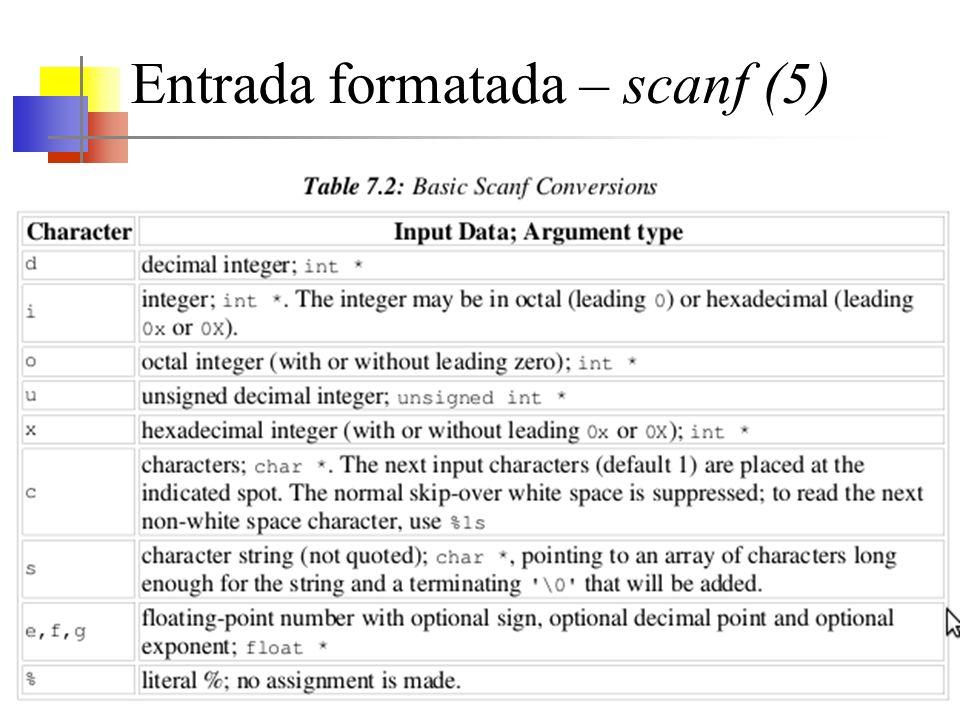 Entrada formatada – scanf (5)
