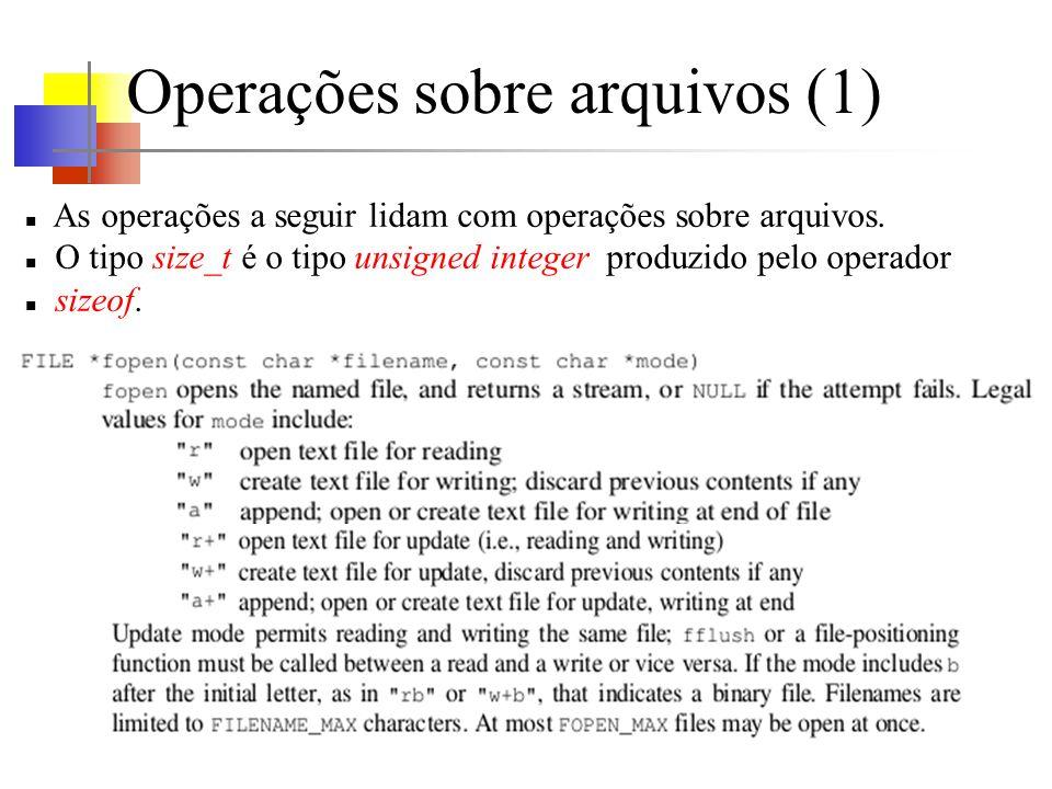 Operações sobre arquivos (1) As operações a seguir lidam com operações sobre arquivos. O tipo size_t é o tipo unsigned integer produzido pelo operador