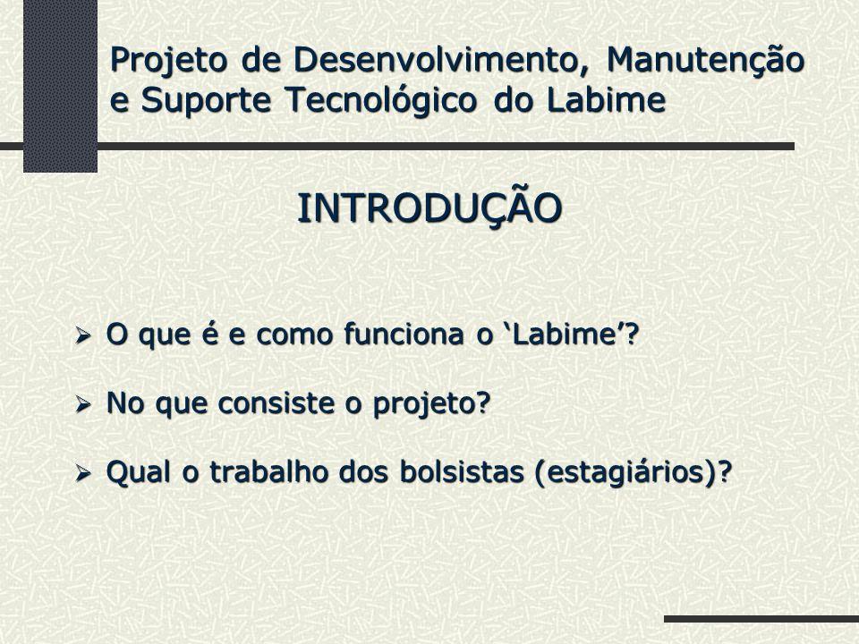 Projeto de Desenvolvimento, Manutenção e Suporte Tecnológico do Labime INTRODUÇÃO O que é e como funciona o Labime? O que é e como funciona o Labime?