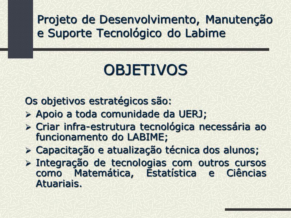 OBJETIVOS Os objetivos estratégicos são: Apoio a toda comunidade da UERJ; Apoio a toda comunidade da UERJ; Criar infra-estrutura tecnológica necessári
