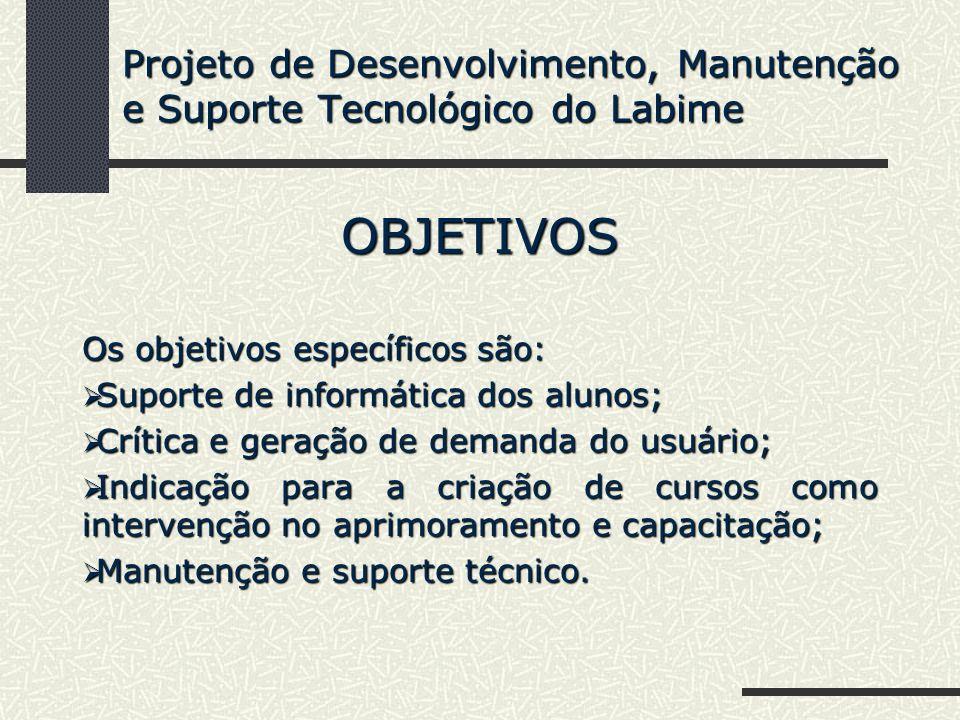 OBJETIVOS Os objetivos específicos são: Suporte de informática dos alunos; Suporte de informática dos alunos; Crítica e geração de demanda do usuário;