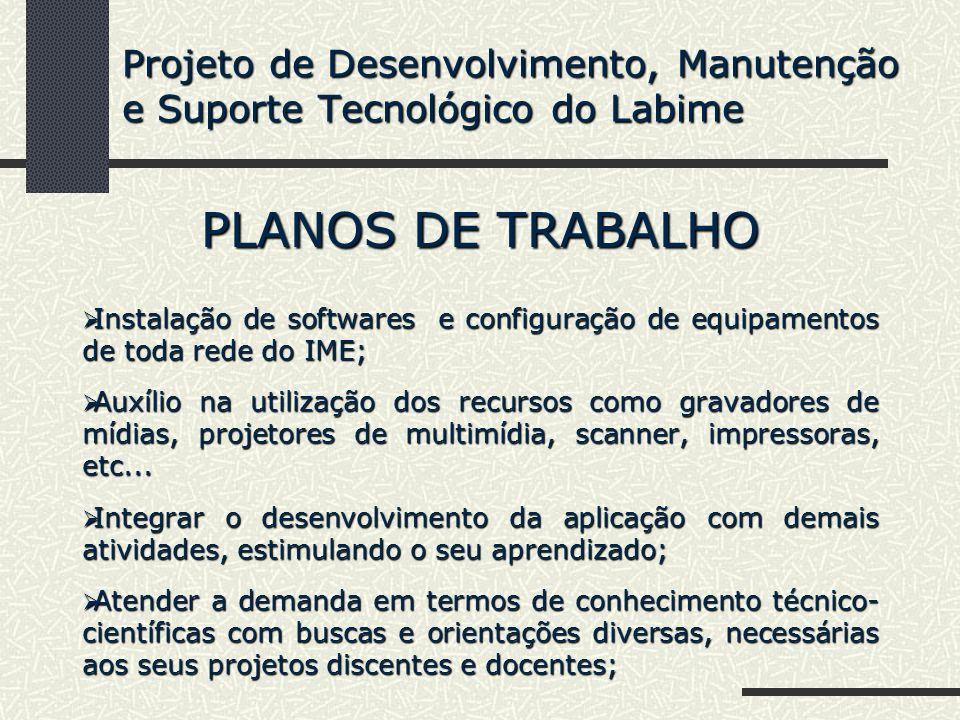 PLANOS DE TRABALHO Instalação de softwares e configuração de equipamentos de toda rede do IME; Instalação de softwares e configuração de equipamentos