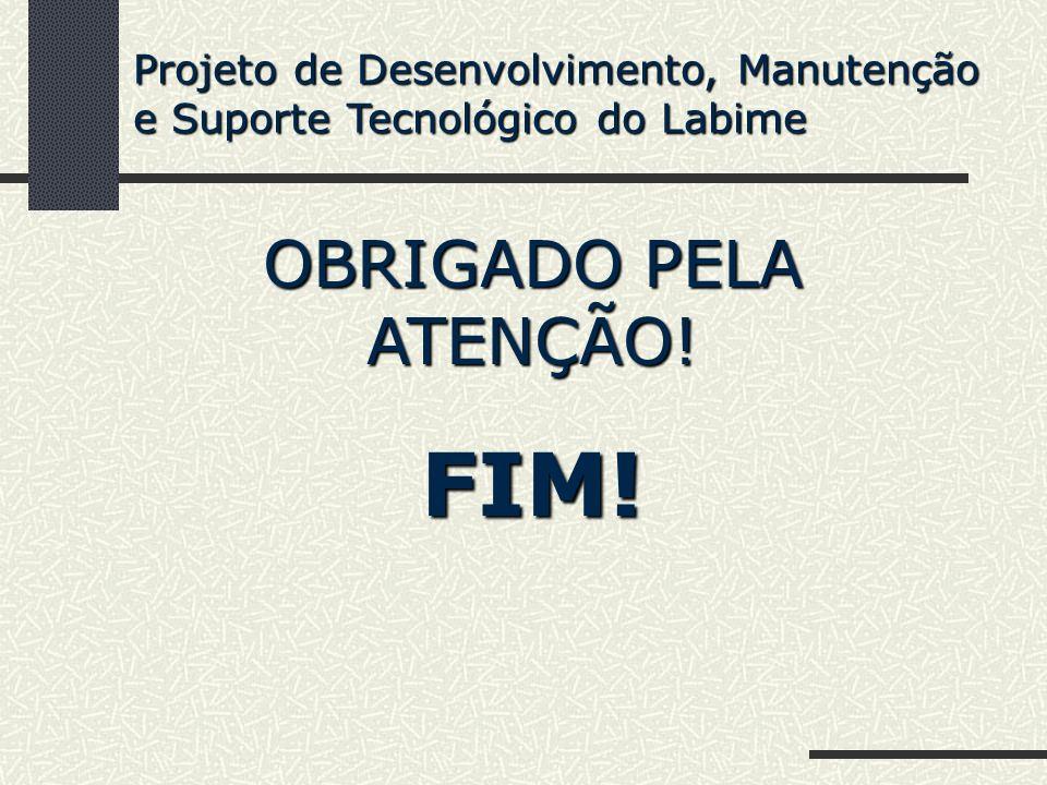 OBRIGADO PELA ATENÇÃO! FIM! Projeto de Desenvolvimento, Manutenção e Suporte Tecnológico do Labime
