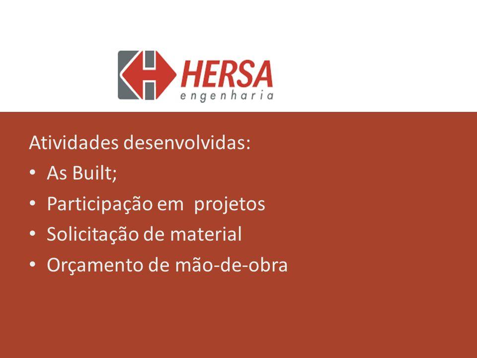 Atividades desenvolvidas: As Built; Participação em projetos Solicitação de material Orçamento de mão-de-obra