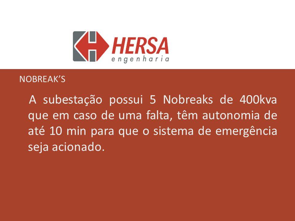 A subestação possui 5 Nobreaks de 400kva que em caso de uma falta, têm autonomia de até 10 min para que o sistema de emergência seja acionado. NOBREAK