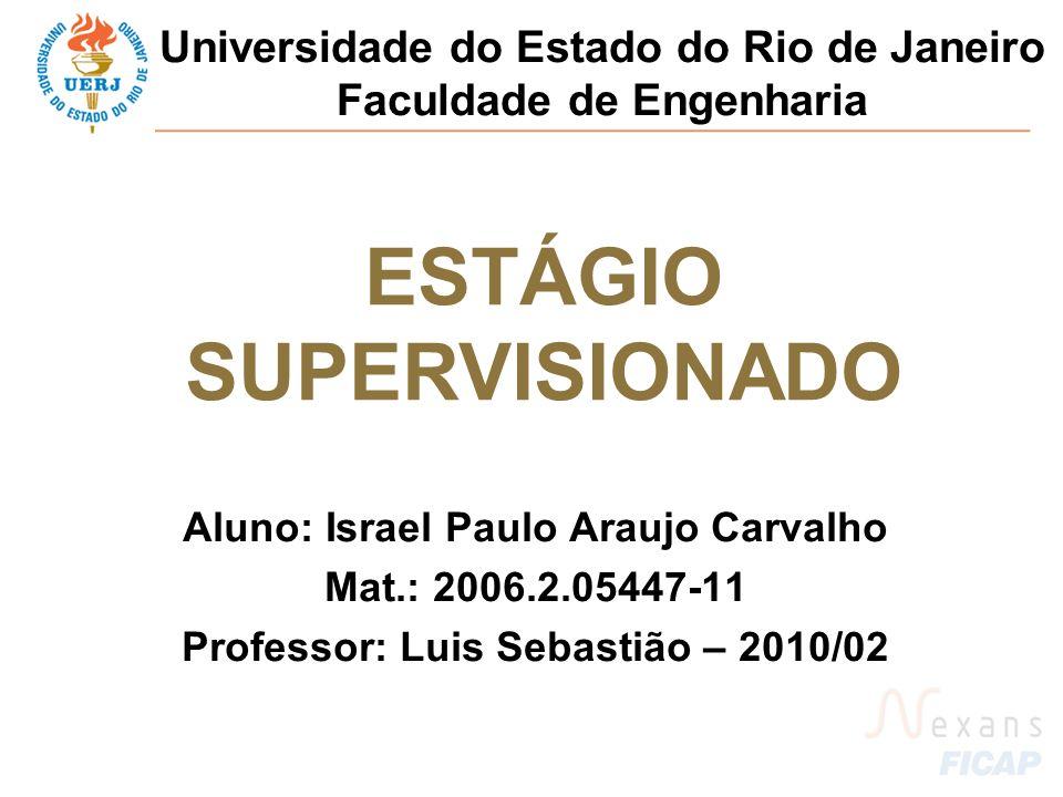 Aluno: Israel Paulo Araujo Carvalho Mat.: 2006.2.05447-11 Professor: Luis Sebastião – 2010/02 ESTÁGIO SUPERVISIONADO Universidade do Estado do Rio de Janeiro Faculdade de Engenharia