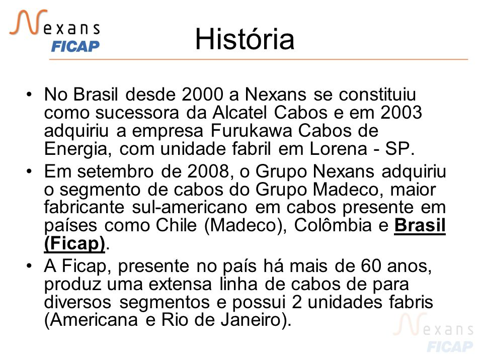 História No Brasil desde 2000 a Nexans se constituiu como sucessora da Alcatel Cabos e em 2003 adquiriu a empresa Furukawa Cabos de Energia, com unidade fabril em Lorena - SP.