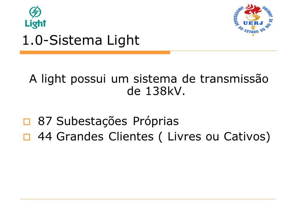 1.0-Sistema Light A light possui um sistema de transmissão de 138kV. 87 Subestações Próprias 44 Grandes Clientes ( Livres ou Cativos)