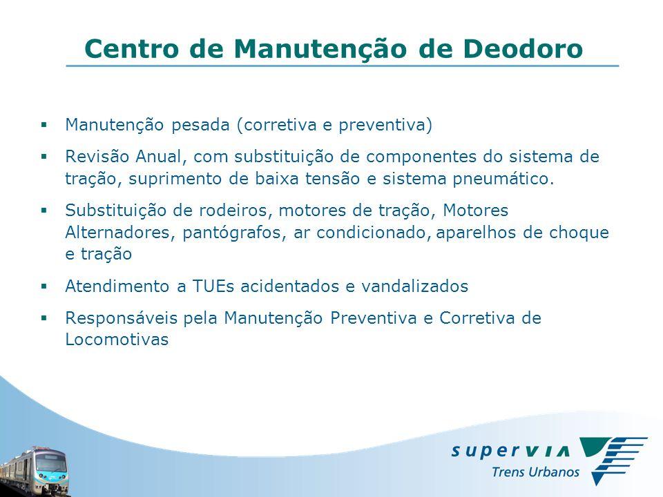 Manutenção pesada (corretiva e preventiva) Revisão Anual, com substituição de componentes do sistema de tração, suprimento de baixa tensão e sistema p