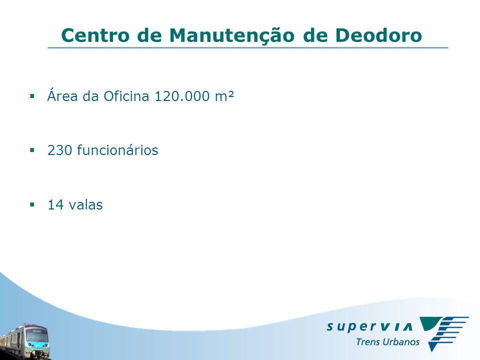 Área da Oficina 120.000 m² 230 funcionários 14 valas