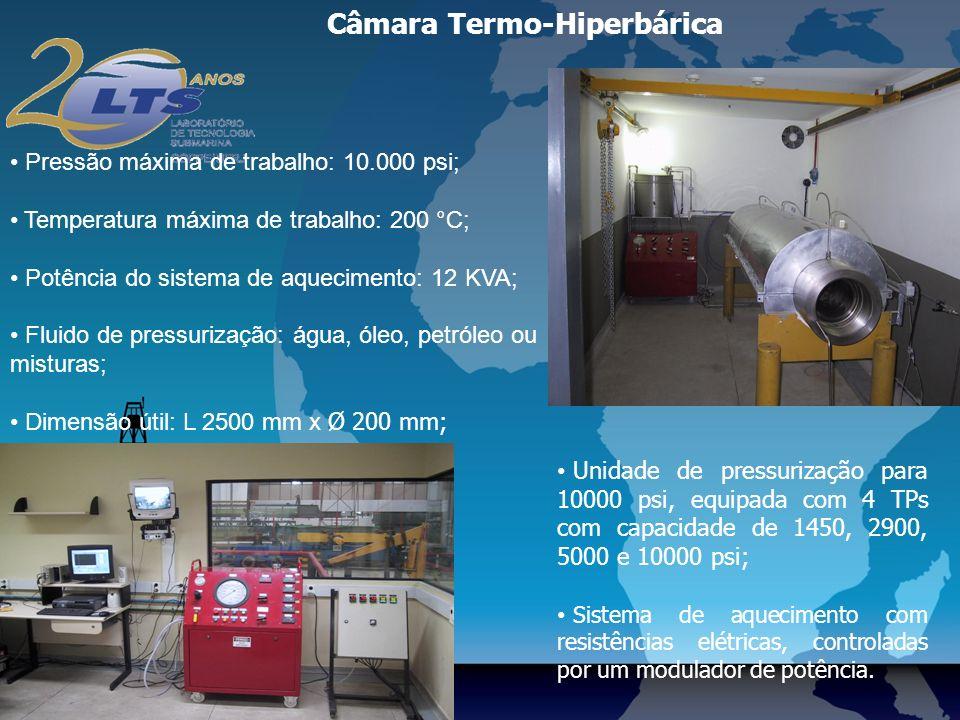 Câmara Termo-Hiperbárica Pressão máxima de trabalho: 10.000 psi; Temperatura máxima de trabalho: 200 °C; Potência do sistema de aquecimento: 12 KVA; Fluido de pressurização: água, óleo, petróleo ou misturas; Dimensão útil: L 2500 mm x Ø 200 mm; Unidade de pressurização para 10000 psi, equipada com 4 TPs com capacidade de 1450, 2900, 5000 e 10000 psi; Sistema de aquecimento com resistências elétricas, controladas por um modulador de potência.