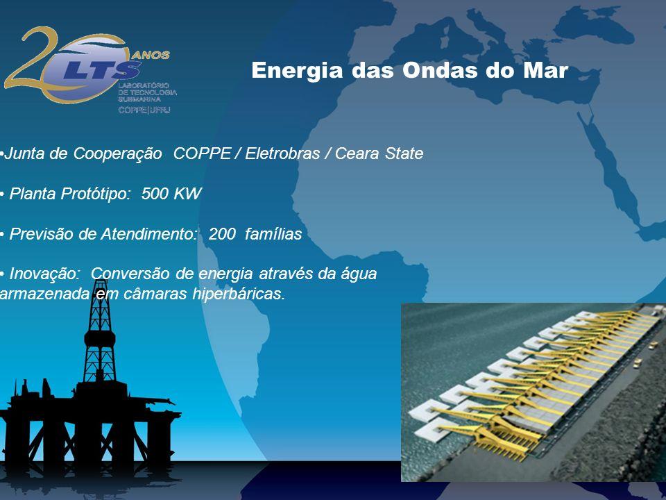 Energia das Ondas do Mar Junta de Cooperação COPPE / Eletrobras / Ceara State Planta Protótipo: 500 KW Previsão de Atendimento: 200 famílias Inovação: Conversão de energia através da água armazenada em câmaras hiperbáricas.