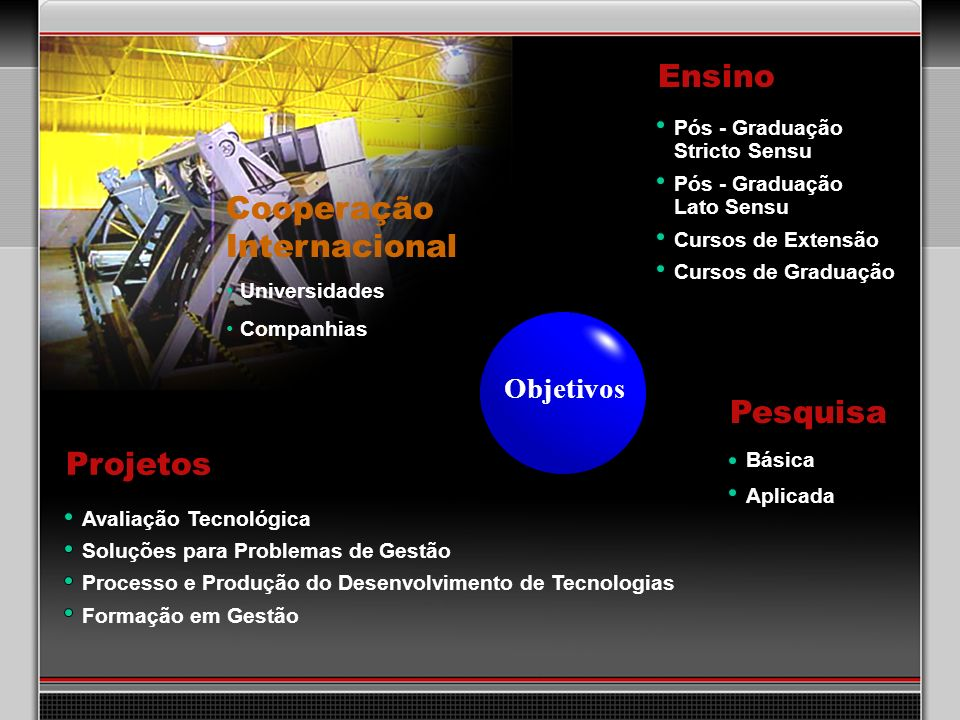 Câmara Hiperbárica Vertical Pressão máxima de trabalho: 1500 psi; Comprimento útil: 1,2 m; Diâmetro interno: 1,5 m; Temperatura de trabalho: ambiente; Fluido de pressurização: água doce; Unidade de pressurização contendo bomba hidráulica de acionamento pneumático e válvula reguladora de pressão eletrônica controlada por CLP; Malha para medição de pressão contendo transmissor eletrônico de pressão + módulo condicionador de sinais + computador com placa A/D.