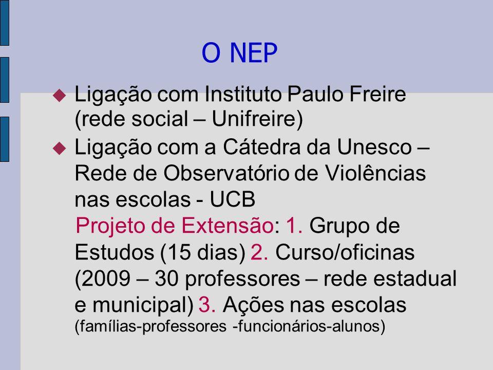 O NEP Ligação com Instituto Paulo Freire (rede social – Unifreire) Ligação com a Cátedra da Unesco – Rede de Observatório de Violências nas escolas -