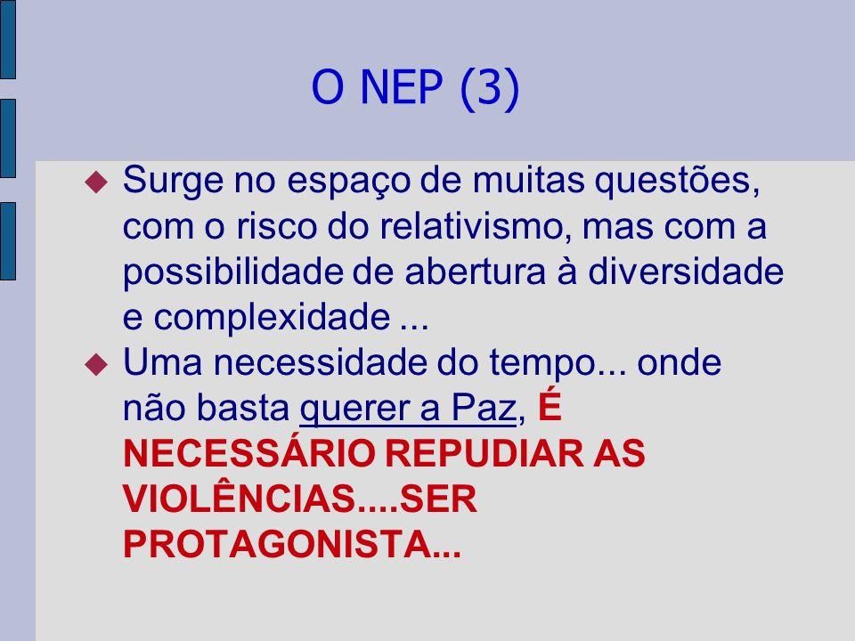 O NEP (3) Surge no espaço de muitas questões, com o risco do relativismo, mas com a possibilidade de abertura à diversidade e complexidade... Uma nece
