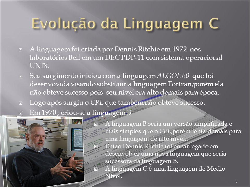 A linguagem foi criada por Dennis Ritchie em 1972 nos laboratórios Bell em um DEC PDP-11 com sistema operacional UNIX.