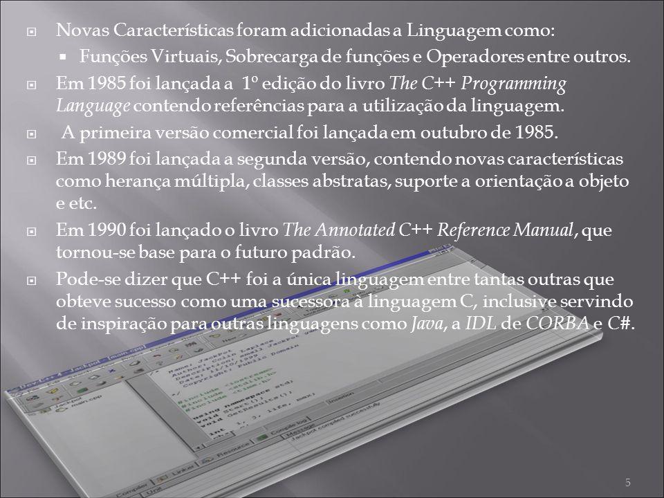 Novas Características foram adicionadas a Linguagem como: Funções Virtuais, Sobrecarga de funções e Operadores entre outros.
