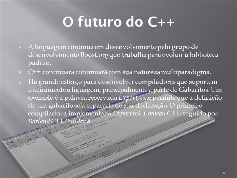 A linguagem continua em desenvolvimento pelo grupo de desenvolvimento Boost.org que trabalha para evoluir a biblioteca padrão.