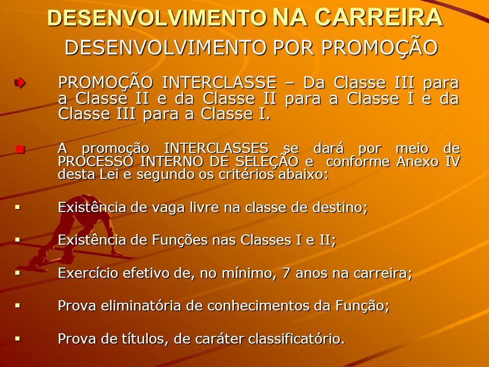 DESENVOLVIMENTO NA CARREIRA DESENVOLVIMENTO POR PROMOÇÃO DESENVOLVIMENTO POR PROMOÇÃO PROMOÇÃO INTERCLASSE – Da Classe III para a Classe II e da Classe II para a Classe I e da Classe III para a Classe I.