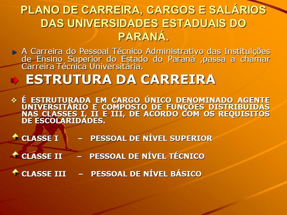 PLANO DE CARREIRA, CARGOS E SALÁRIOS DAS UNIVERSIDADES ESTADUAIS DO PARANÁ. A Carreira do Pessoal Técnico Administrativo das Instituições de Ensino Su