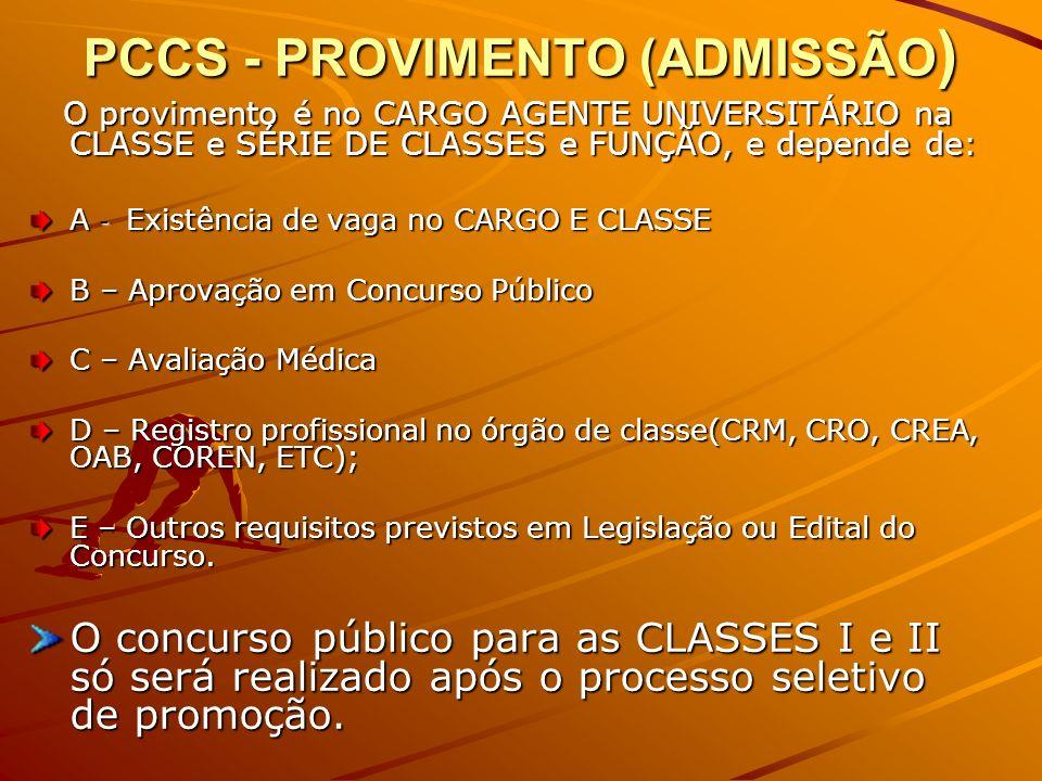 PCCS - PROVIMENTO (ADMISSÃO ) O provimento é no CARGO AGENTE UNIVERSITÁRIO na CLASSE e SÉRIE DE CLASSES e FUNÇÃO, e depende de: O provimento é no CARGO AGENTE UNIVERSITÁRIO na CLASSE e SÉRIE DE CLASSES e FUNÇÃO, e depende de: A - Existência de vaga no CARGO E CLASSE B – Aprovação em Concurso Público C – Avaliação Médica D – Registro profissional no órgão de classe(CRM, CRO, CREA, OAB, COREN, ETC); E – Outros requisitos previstos em Legislação ou Edital do Concurso.
