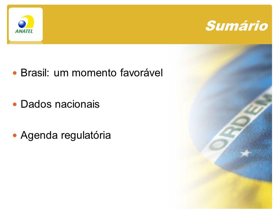 Sumário Brasil: um momento favorável Dados nacionais Agenda regulatória