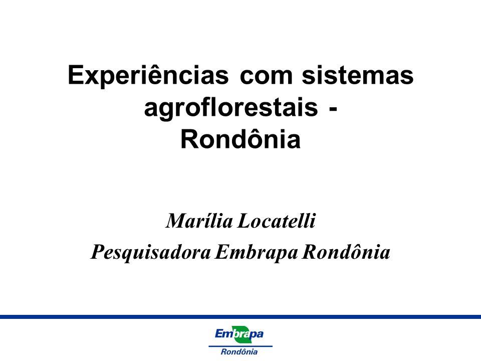 Experiências com sistemas agroflorestais - Rondônia Marília Locatelli Pesquisadora Embrapa Rondônia