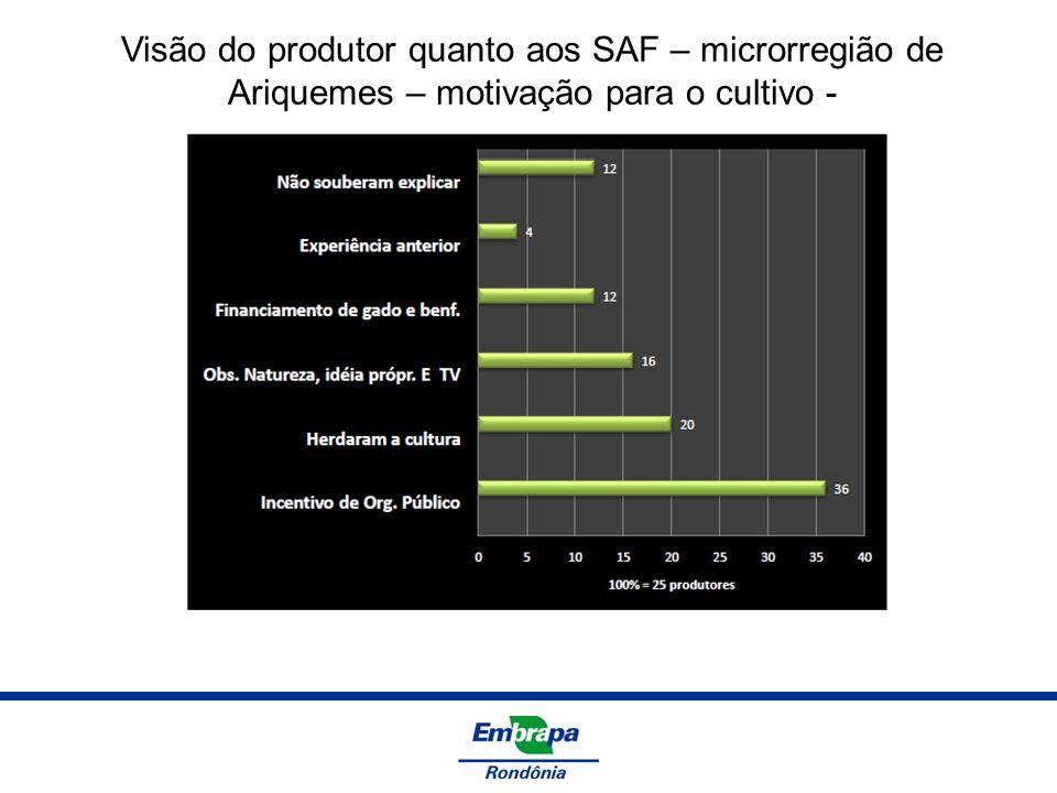 Visão do produtor quanto aos SAF – microrregião de Ariquemes – motivação para o cultivo -