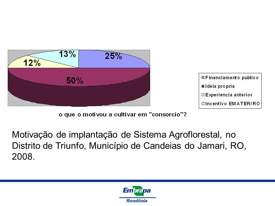 Motivação de implantação de Sistema Agroflorestal, no Distrito de Triunfo, Município de Candeias do Jamari, RO, 2008.