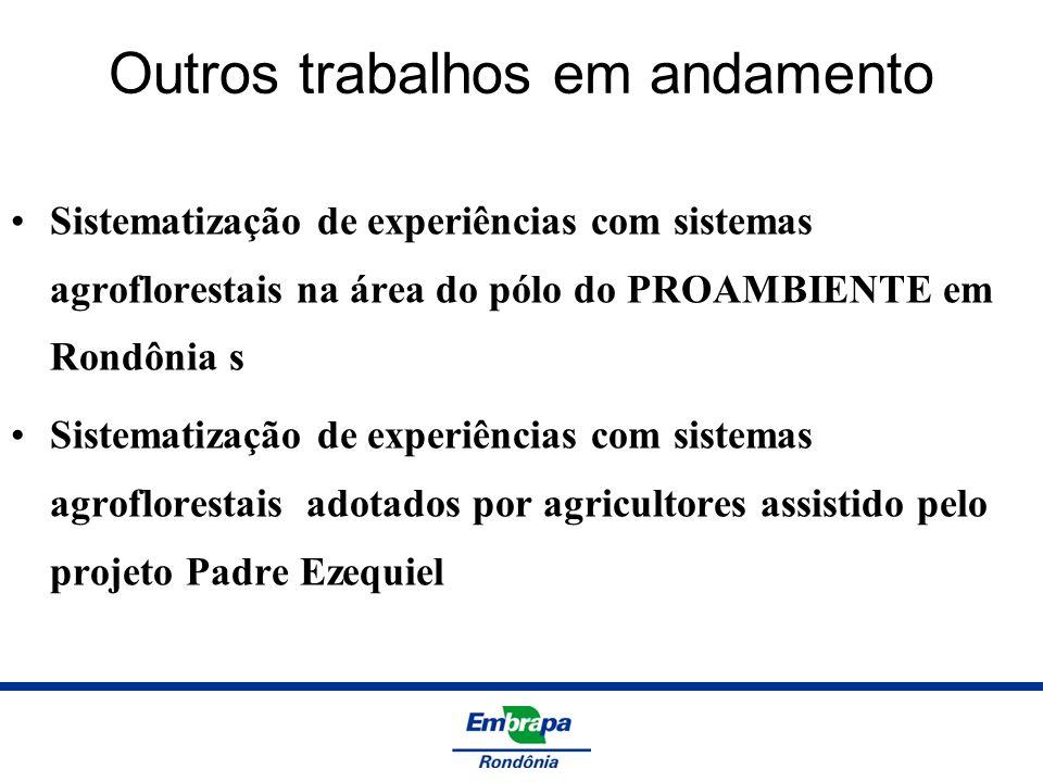Outros trabalhos em andamento Sistematização de experiências com sistemas agroflorestais na área do pólo do PROAMBIENTE em Rondônia s Sistematização d