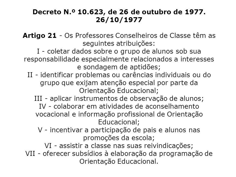 Decreto N.º 10.623, de 26 de outubro de 1977. 26/10/1977 Artigo 21 - Os Professores Conselheiros de Classe têm as seguintes atribuições: I - coletar d